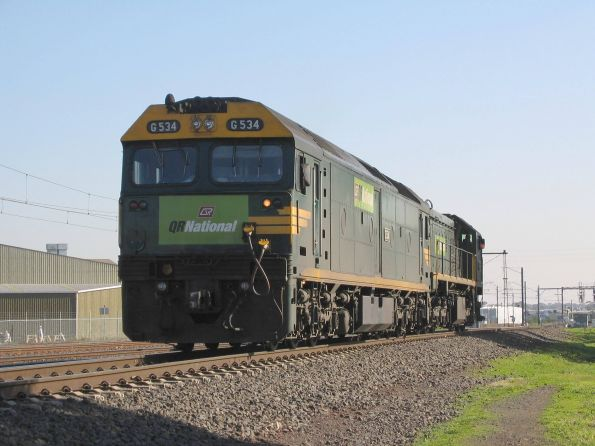 QR National's G534 trails X54 on the light engine move to CRT Altona