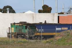 Australian National liveried 845 stored beside a VHAF grain hopper in the former ATN depot at McIntyre Loop
