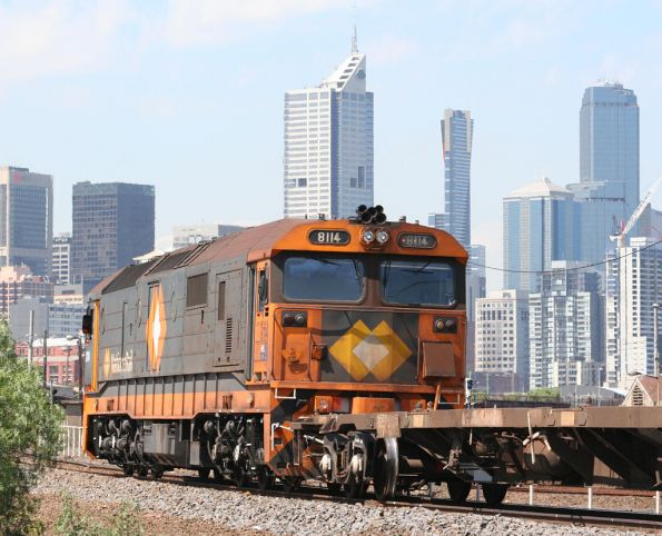 8114 shunting container wagons at the west end of the Melbourne Freight Terminal