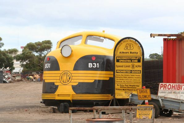 Ex-Teacup B68 renumbered as 'B31' and repainted in VR livery at Albert Batty Scrapmetal, North Geelong