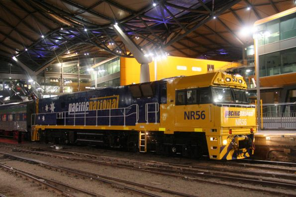 Freshly repainted NR56 arrives into Southern Cross leading the Overland