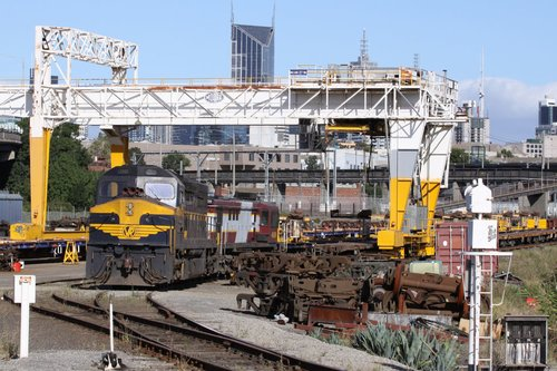 C501 stabled with Austrac liveried 4836 stabled at the Creek Sidings