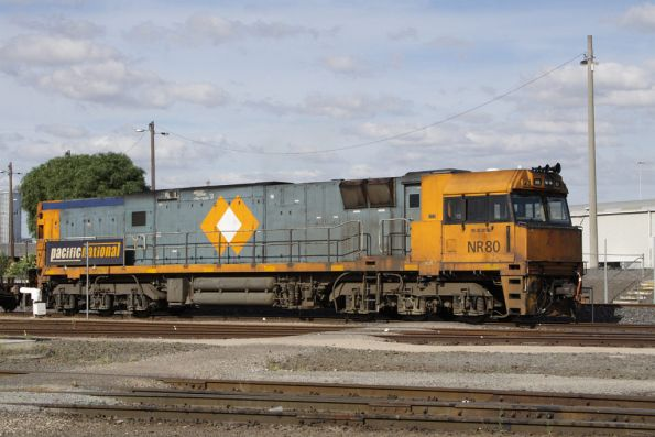 NR80 shunting the Melbourne Freight Terminal, still with NRC 'diamond' on the side