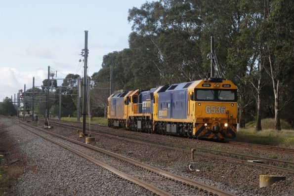 G536, XR551 and G525 depart Werribee on a light engine run towards Geelong