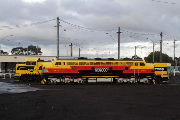 B75 , T385 and T386 stabled at the Geelong locomotive depot