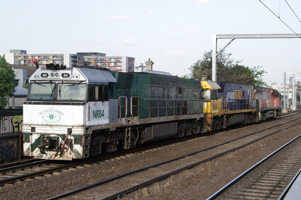 NR84, NR58 and MRL006 at Middle Footscray, running light engine from the United Group facility in Spotswood