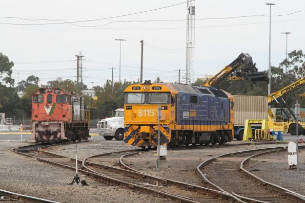 Y124 and 8115 at the west end of the Melbourne Freight Terminal