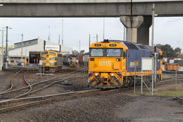 8115 departs the Melbourne Freight Terminal via the eastern end