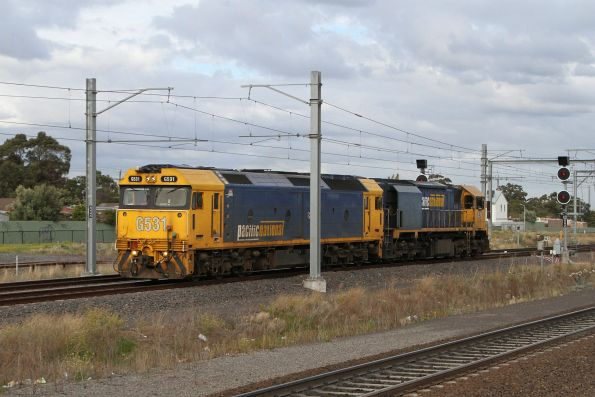G531 and XR558 head light engine through Sunshine, bound for Seymour to rescue a failed Tocumwal freight