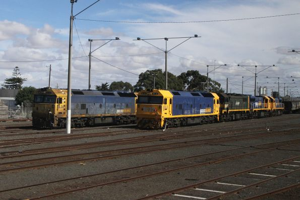 BL34, BL32, X44, XR554 and XR552 stabled at North Geelong Yard