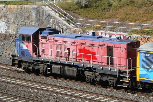 The other side of SSR's newly acquired locomotive P18, with some red paint slapped over the V/Line logo