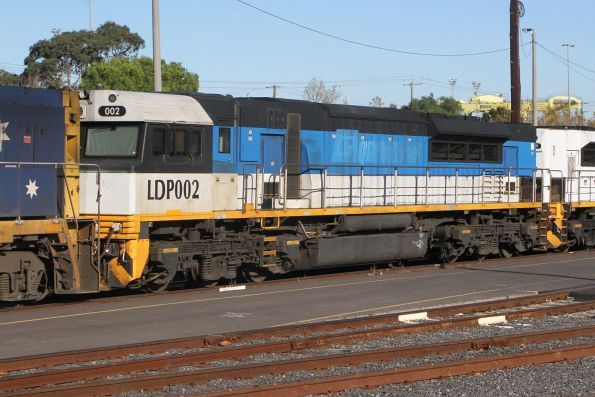 LDP002 in original EDI Rail colours but with the QR National logos painted over, on hire to Pacific National