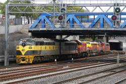 S302 leads P18, B75, P17, S312 and S317 light engine through Middle Footscray from Tottenham Yard to South Dynon
