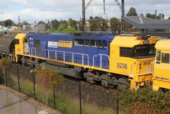 Pacific National liveried 8236 in the consist of 4KG5 northbound grain at Sunshine
