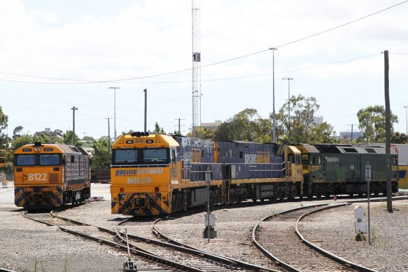 Melbourne Freight Terminal shunter 8122 stabled beside NR55, NR49 and G542