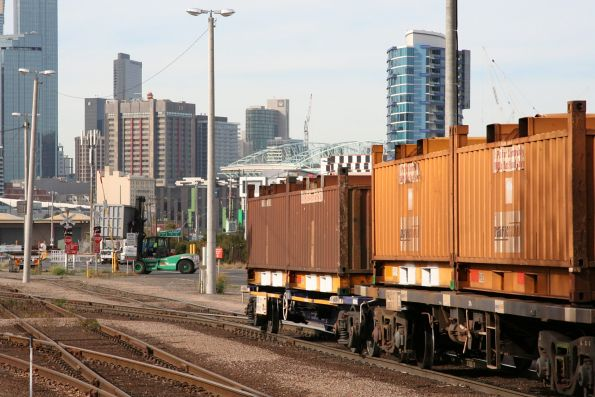 Standard gauge wagons being pushed back into the Melbourne Steel Terminal