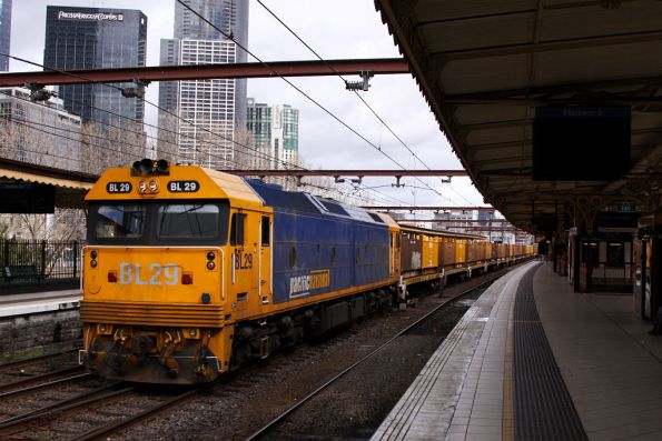 BL29 passes through Flinders Street track 9A with a load of butterboxes bound for Long Island
