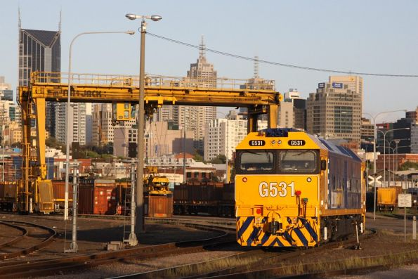 Shunting steel wagons of an afternoon, G531 at the Melbourne Steel Terminal