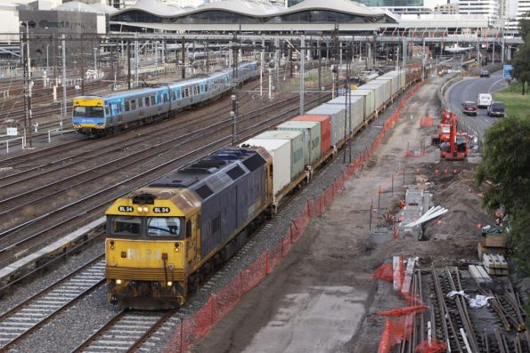 BL34 leads the up steel train through Southern Cross