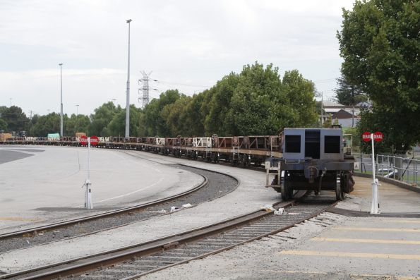 Broad gauge steel train consist at Melbourne Freight Terminal