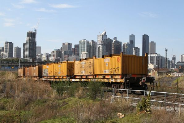 Coil steel containers on the down Long Island steel train departing South Dynon