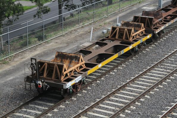 Last wagon of the up steel train is fouling the points at Melbourne Yard, preventing the down steel train from passing