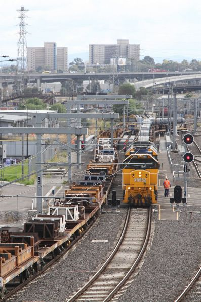 Crew of the down steel train ready to shunt their track clear at Melbourne Yard
