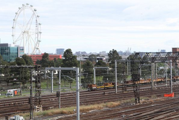 Up steel train finally on the move at Melbourne Yard