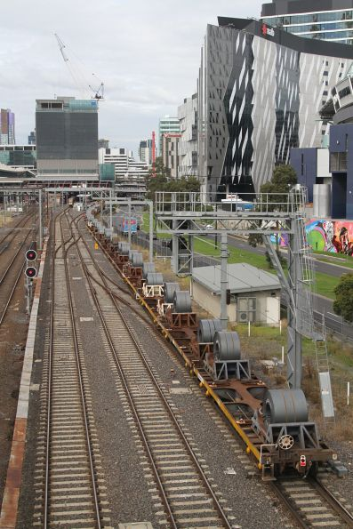 Lots of coil steel at the tail end of the down steel train at Southern Cross
