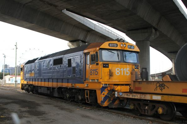 8115 shunting standard gauge coil steel wagons into the transhipping area at the Melbourne Freight Terminal