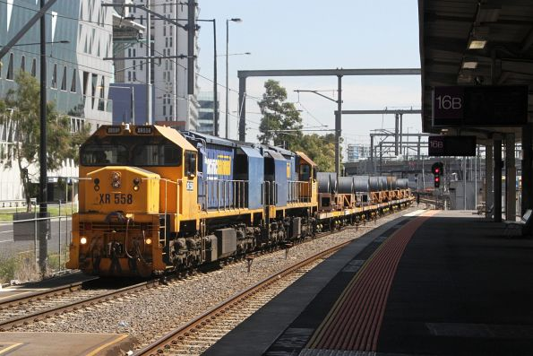 XR558 and XR559 southbound at Southern Cross with a load of coil steel