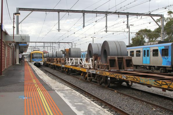 Load of coil steel on the down Long Island steel train at Frankston