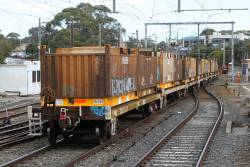 Load of 'butterbox' containers on the down Long Island steel train at Frankston