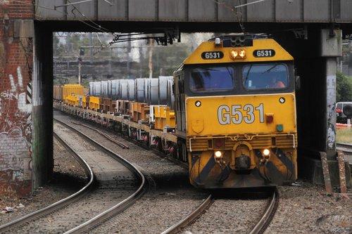 G531 and G541 lead the down Long Island train through Malvern station