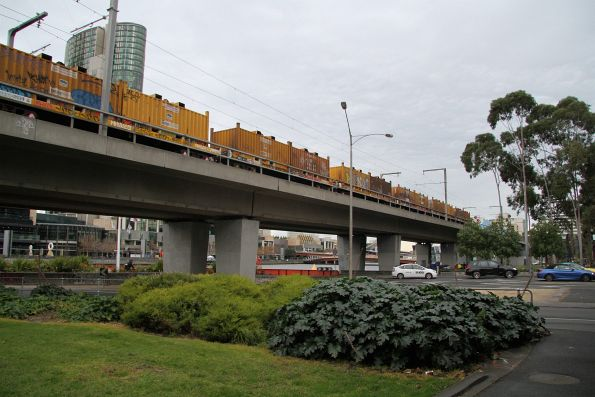 Coil steel wagons on the down Long Island freight crosses the Flinders Street Viaduct