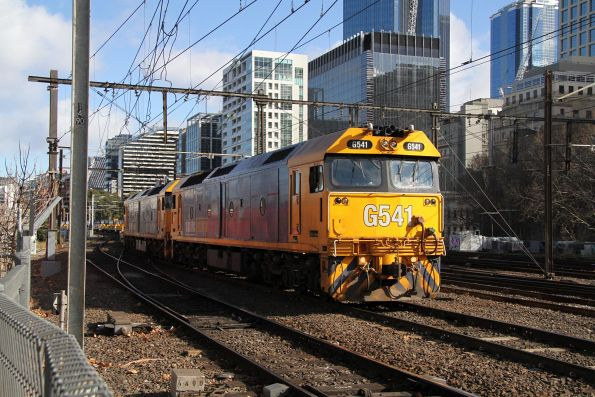 G541 and G525 approach Flinders Street Station with a down Long Island steel train