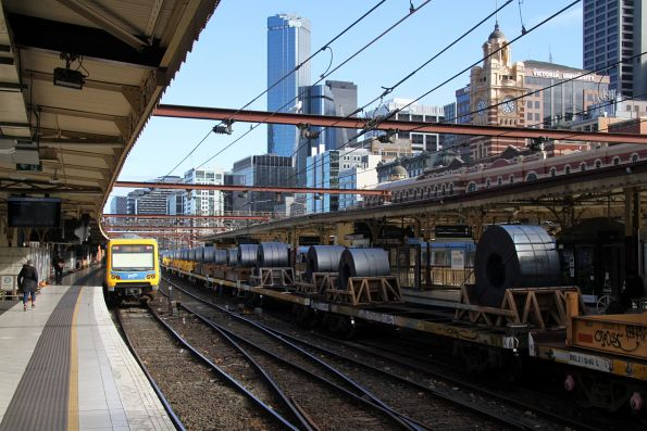 Coil steel wagons on the down Long Island steel train at Flinders Street Station