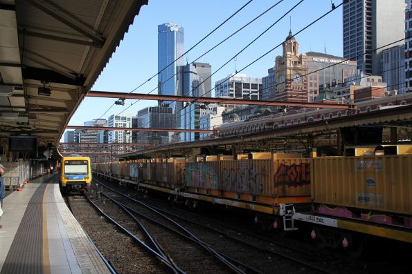 'Butterbox' steel containers on the down Long Island steel train at Flinders Street Station