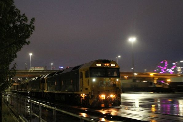 G536 leads G541 into the Melbourne Freight Terminal with the up steel train