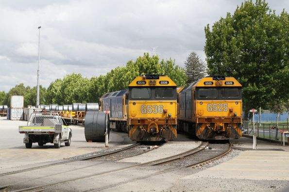 G536 and G525 side by side at the Melbourne Freight Terminal