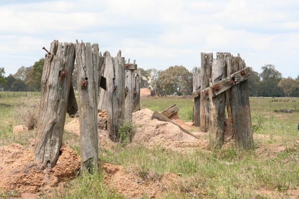 Remains of a trestle west of the MacAlister River at Maffra
