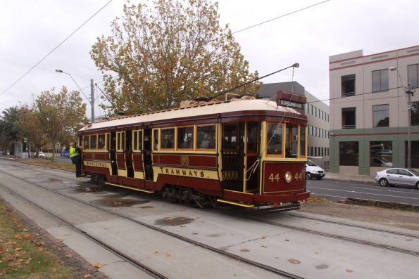 Tram 44 on the official run heads along Dandenong Road back towards the depot