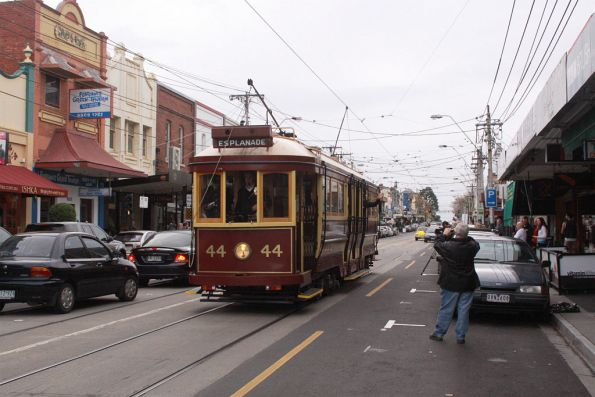 Tram 44 departs on the first shuttle to Dandenong Road