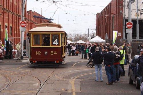 Tram 84 runs out of the depot for a filming run