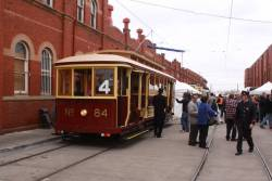 Tram 84 on display in the depot