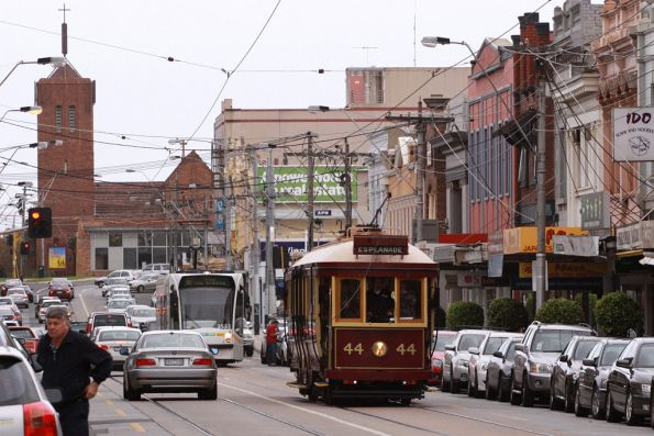 Tram 44 head north up Glenferrie Road, D1.3533 following behind