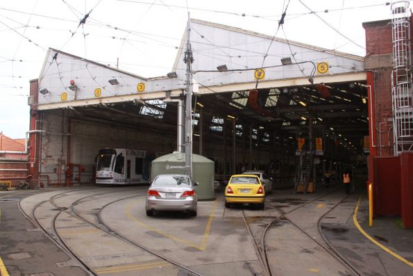 Roads 1 through 5 in the tram shed