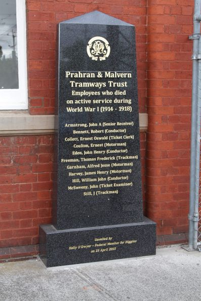 Memorial for Prahran and Malvern Tramways Trust employees who lost their lives during active service in WW1