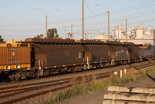 NGGF wagons in the consist of a northbound steel train departing Melbourne