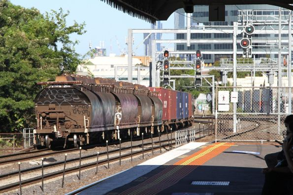 Sugar wagons passing Middle Footscray, attached to the tail end of the southbound WM2 steel train